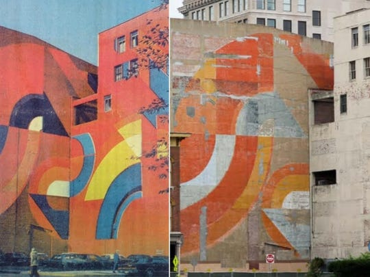 """Roland Hobart's """"Untitled (Urban Wall)"""" mural is seen in the 1970s, left, and today at 32 N. Delaware St."""