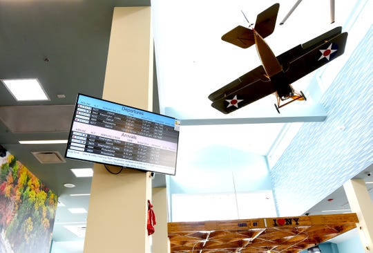 """A model of the """"Tommy"""" plane at the newly expanded and modernized Ithaca Tompkins International Airport. December 19, 2019."""