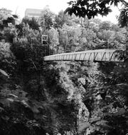 The suspension bridge over Fall Creek on the Cornell campus.