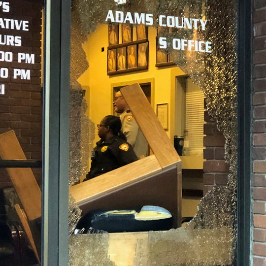 A man went on a vandalism spree breaking windows at the Adams County Courthouse and Adams County Sheriff's Office Thursday, Dec. 19, 2019, after he was told he could not seek shelter in the jail.