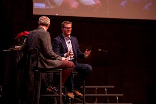 Dale Earnhardt Jr., right, talks with Freed-Hardeman University President David Shannon at the university's 2019 benefit dinner Dec. 6, 2019.