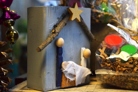 A handmade Nativity crafted from reclaimed wood by women in recovery sits among other decorations at the Dream Center in Jackson, Tenn., on Dec. 16, 2019.