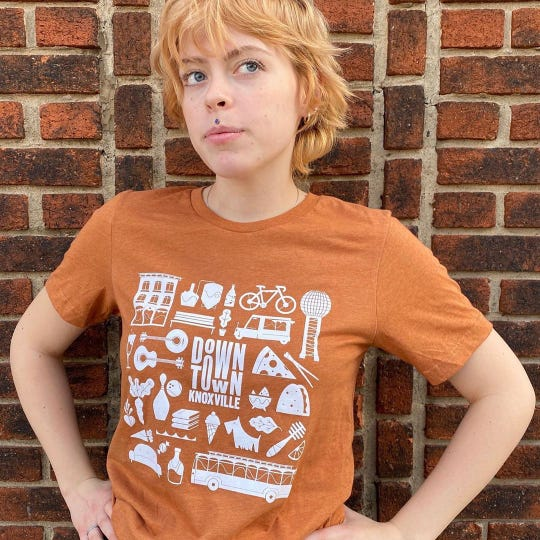 The Downtown Knoxville T-shirt in autumn heather is available at Rala.