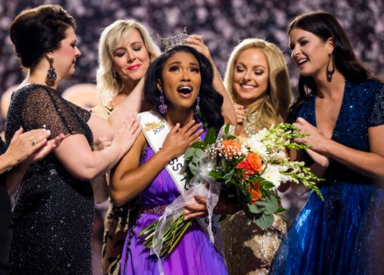 Miss Greene County Brianna Mason is crowned Miss Tennessee by four former Miss Tennessees at the Miss Tennessee Scholarship Competition at Thompson-Boling Arena in Knoxville, Tenn., on Saturday, June 29, 2019. Mason is the first African American to win the Miss Tennessee crown.