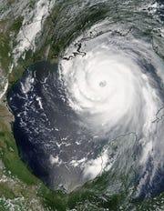 Hurricane Katrina preparing to make landfall in Louisiana in 2005.