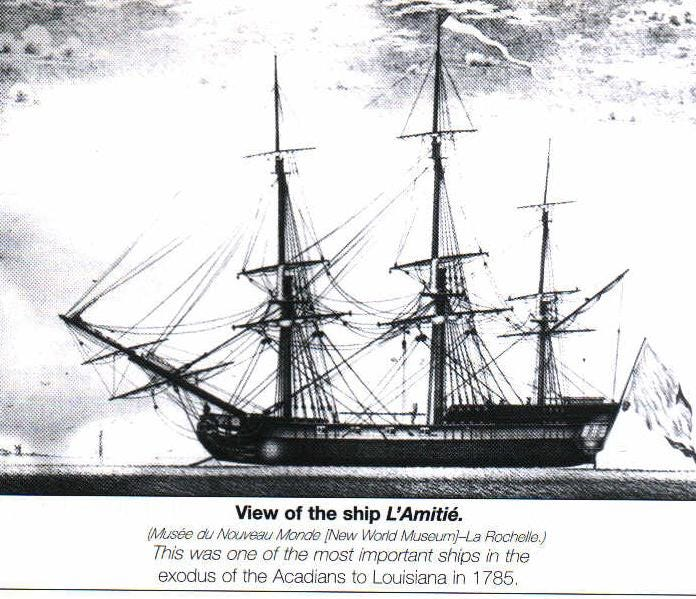 Jean Charles Naquin and his family arrived in New Orleans aboard the Le Saint-Remi, the fourth of seven ships that, in 1785, carried French immigrants to Louisiana. Most were Acadians previously exiled from Canada who failed to build a life in France. This is a drawing of the L'Amitie, the fifth ship of passengers.