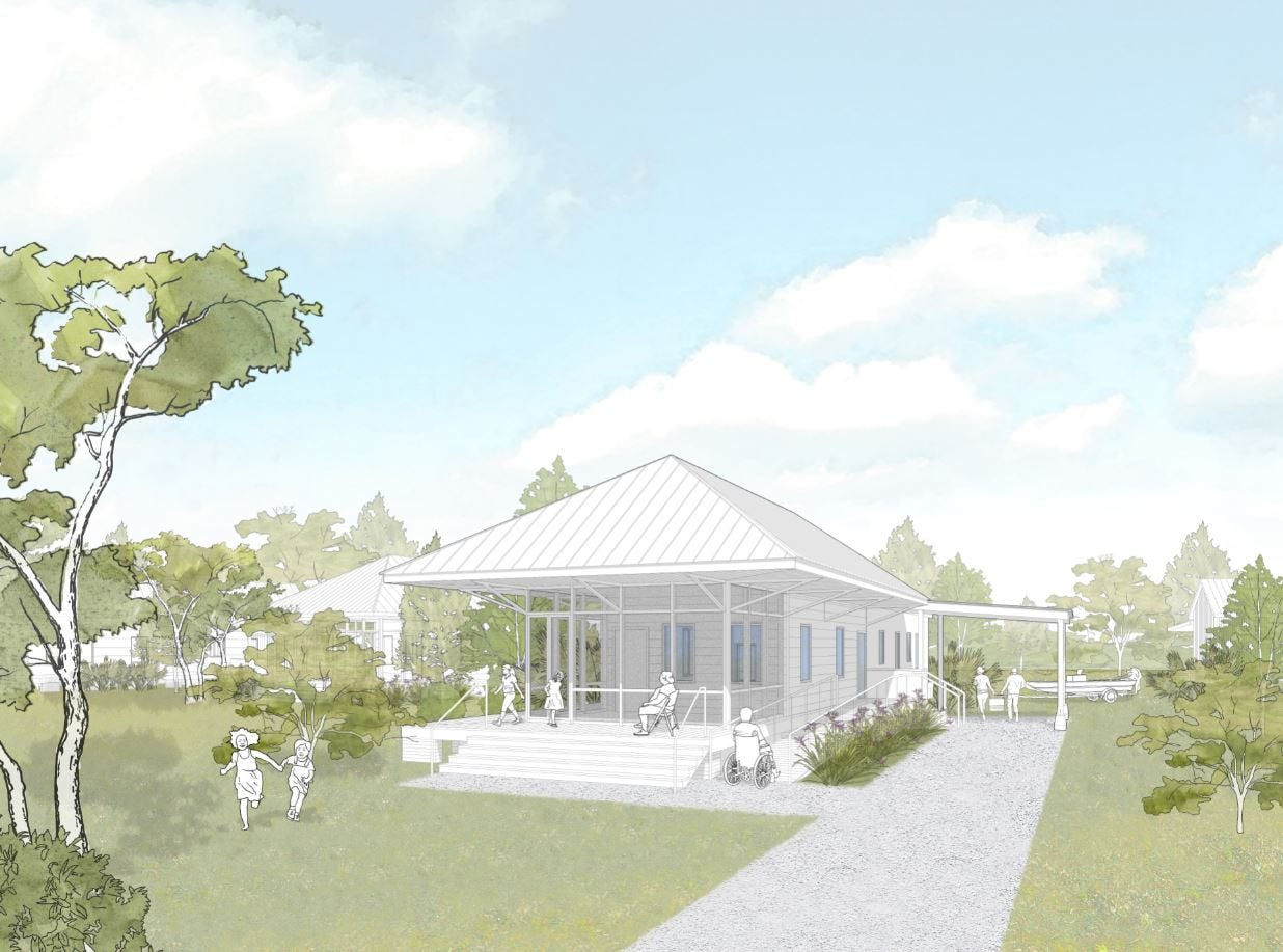 Rendering of potential home design for Isle de Jean Charles residents who move to resettlement community in Schriever, Louisiana.