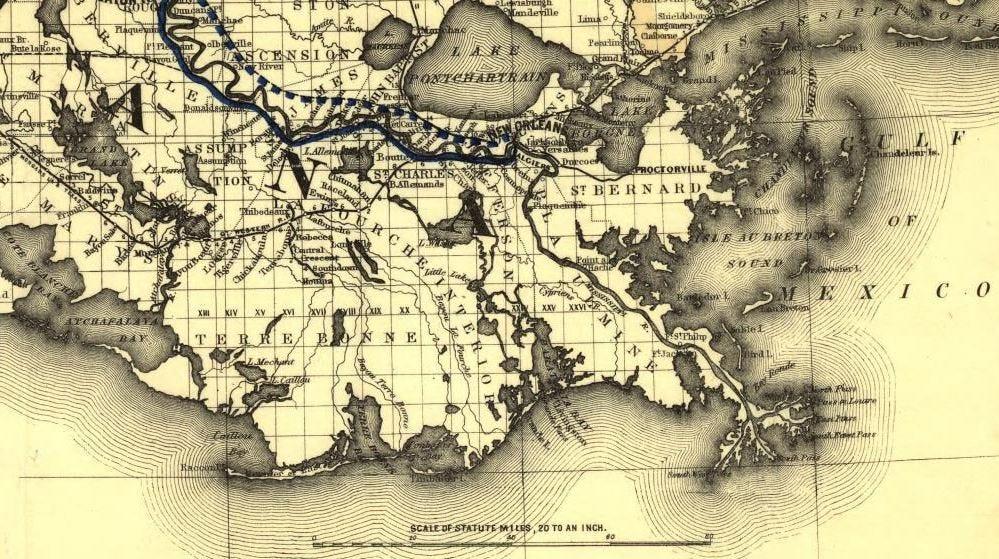 Map of Louisiana in 1882.