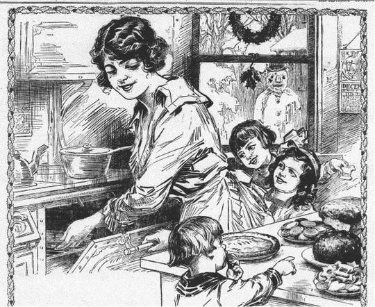 Change the clothing and hairstyles in this ad from Dec. 18, 1919 Daily Eagle and you would have a scene of Christmas baking today.