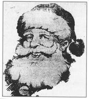 Ads featuring Jolly Old St. Nick rarely appeared in 1919 newspapers. This smiling Santa appeared in the Daily Eagle on Dec. 18, 1919.