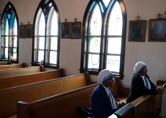 Missionaries of Charity in Jenkins, Ky.  for mass at St. George Catholic Church in Jenkins, Ky.Nov. 15, 2019.