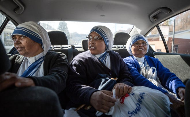 Missionaries of Charity are driven to visit the poor and informed in Jenkins, Ky. Left to right; Sister Angeles, Sister Emerita and Sister Janita. Nov. 15, 2019.