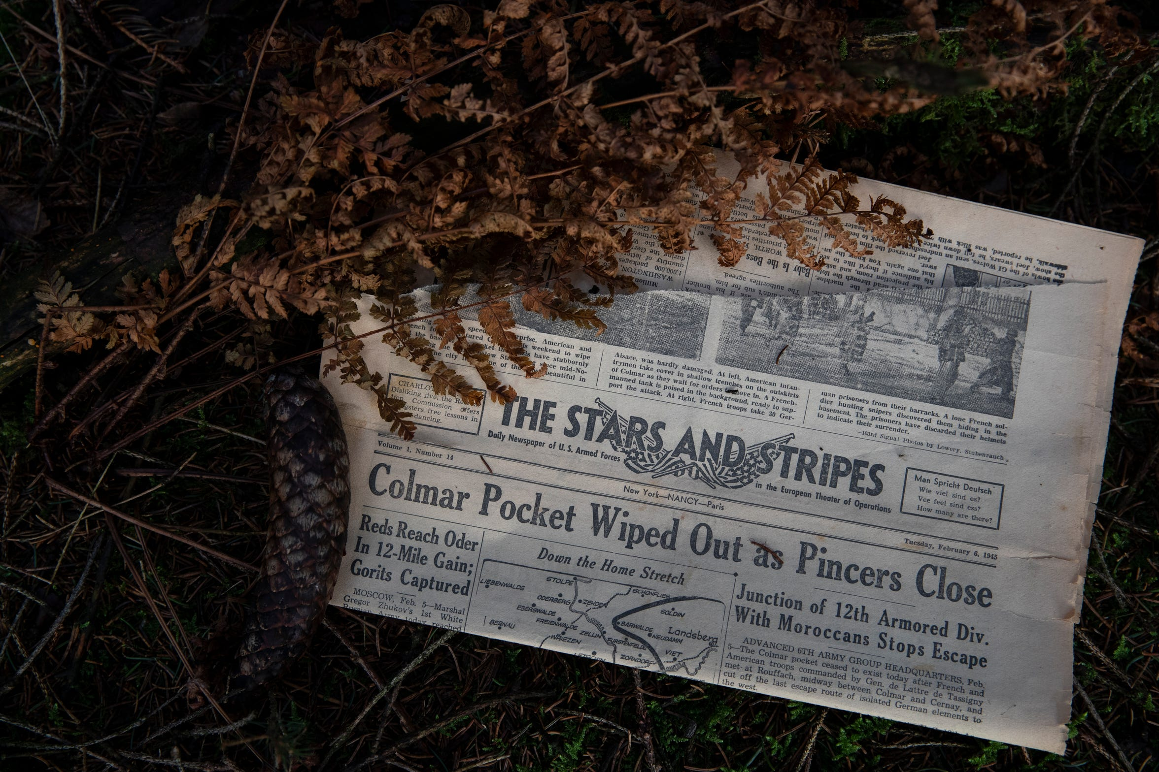 A Stars and Stripes newspaper from WWII lays on the floor of the Ardennes Forest in Belgium.