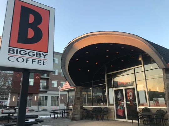 The original Biggby Coffee store, at 270 W. Grand River, East Lansing, shown Dec. 19, 2019, will close Dec. 20. It will reopen across the street in more modern digs.