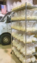 Pounds of fresh masa prepared at La India Tortilleria in Mason, Michigan on Thursday, Dec. 19, 2019, are ready to be loaded for deliveries to businesses such as Pablo's Old Town and La Frontera Mexican Products.