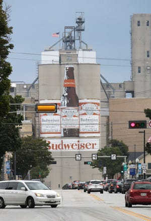 The old Budweiser mural as seen from Washington Street in Manitowoc. People have been complaining to the city of Manitowoc about the rough condition of the road.