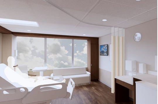 This is an architect's rendering of one of the 48 private patient rooms that will be added to OhioHealth Marion General Hospital.