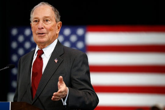 Democratic presidential candidate Michael Bloomberg speaks to supporters at the Benjamin L. Hooks Central Library on Thursday, Dec. 19, 2019.