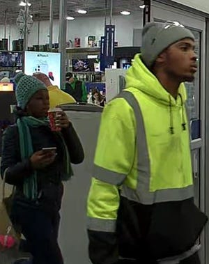Menomonee Falls Police arelooking for two suspects, a male and a female, who may have used counterfeit cash to steal four iPhones 11 Pro's from Best Buy.