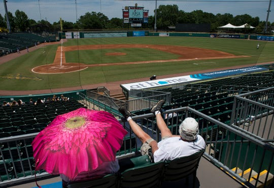 Fans wait for the second game of a doubleheader to start during the AISA Class AA state championship at Riverwalk Stadium in Montgomery, Ala., on Tuesday, May 7, 2019. Lakeside defeated Autauga in both games of a doubleheader to win the championship.