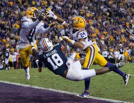 LSU defensive back Derek Stingley Jr. (24) is called for a defensive pass interference penalty on a pass intended for Auburn wide receiver Seth Williams (18) at Tiger Stadium in Baton Rouge, La., on Saturday, Oct. 26, 2019. LSU defeated Auburn 23-20.