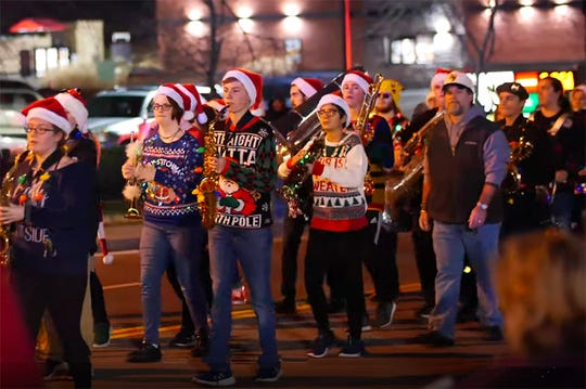 The Fairview High band sporting their 'ugly' sweaters in the 2019 Fairview Storybook Christmas Parade, Dec. 14, 2019.