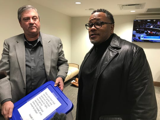Pastors Kevin Riggs, left, and Chris Williamson discuss efforts to remove the bust of Nathan Bedford Forrest from the Capitol.