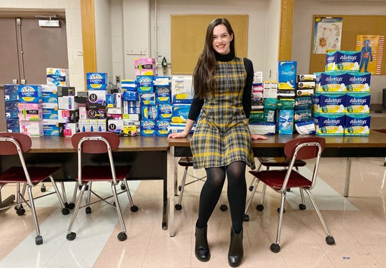 """Hendersonville High School senior Abbey Lewis organized a """"period drive"""" at her school to collect feminine hygiene products for girls who might not otherwise have access to them."""