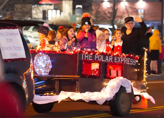 Brownie Troop 2009 in the 2019 Fairview Storybook Christmas Parade, Dec. 14, 2019.