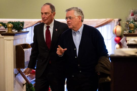 Democratic Presidential candidate Mike Bloomberg, left, chats with Mayor John Cooper as they arrive at 417 Union in Nashville, Tenn., Thursday, Dec. 19, 2019.