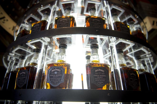 Bottles of Jack Daniel's Single Barrel Select on display at the Jack Daniel's distillery in Lynchburg, Tenn. American whiskey sales have taken a hit in the EU, the spirit's biggest export market, as a result of retaliatory tariffs.