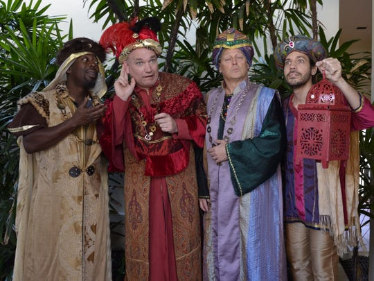Balthazar (Neil Nelson),  Caspar (Christopher Waite), Melchior (John Whittlesey) and their page (Alejandro Viera) come upon Amahl and his mother in their search for the Christ child.