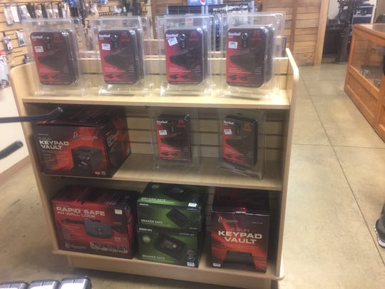 Gun safes, such as these on display at Pataskala's Bullet Ranch, are essential in a home with firearms, authorities say. Some can be purchased for as little as $20.