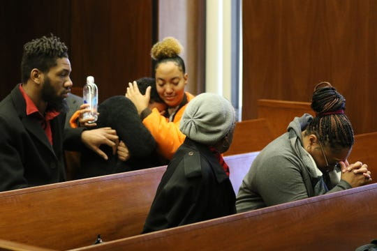 The gallery reacts after the guilty verdict in the murder trial of  Khalil Wheeler-Weaver on December 19, 2019 in the Essex County Courthouse in Newark, NJ in the deaths of three women and the assault of a fourth.