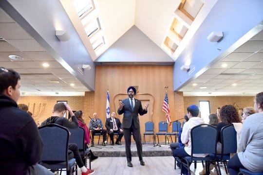 New Jersey Attorney General Grubir Grewal speaks to school children at Golda Och Academy in West Orange, N.J. on Thursday Dec. 19, 2019.