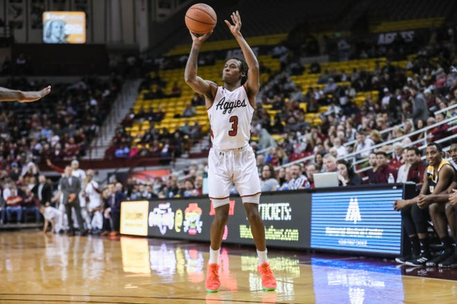 The New Mexico State Aggies faces off against the Arkansas-Pine Bluff Golden Lions at the Pan American Center in Las Cruces on Wednesday, Dec. 18, 2019.