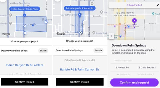 Uber and Lyft users heading from certain blocks of downtown Palm Springs will have to select where they want to be picked up under a new pilot program started in December 2019.