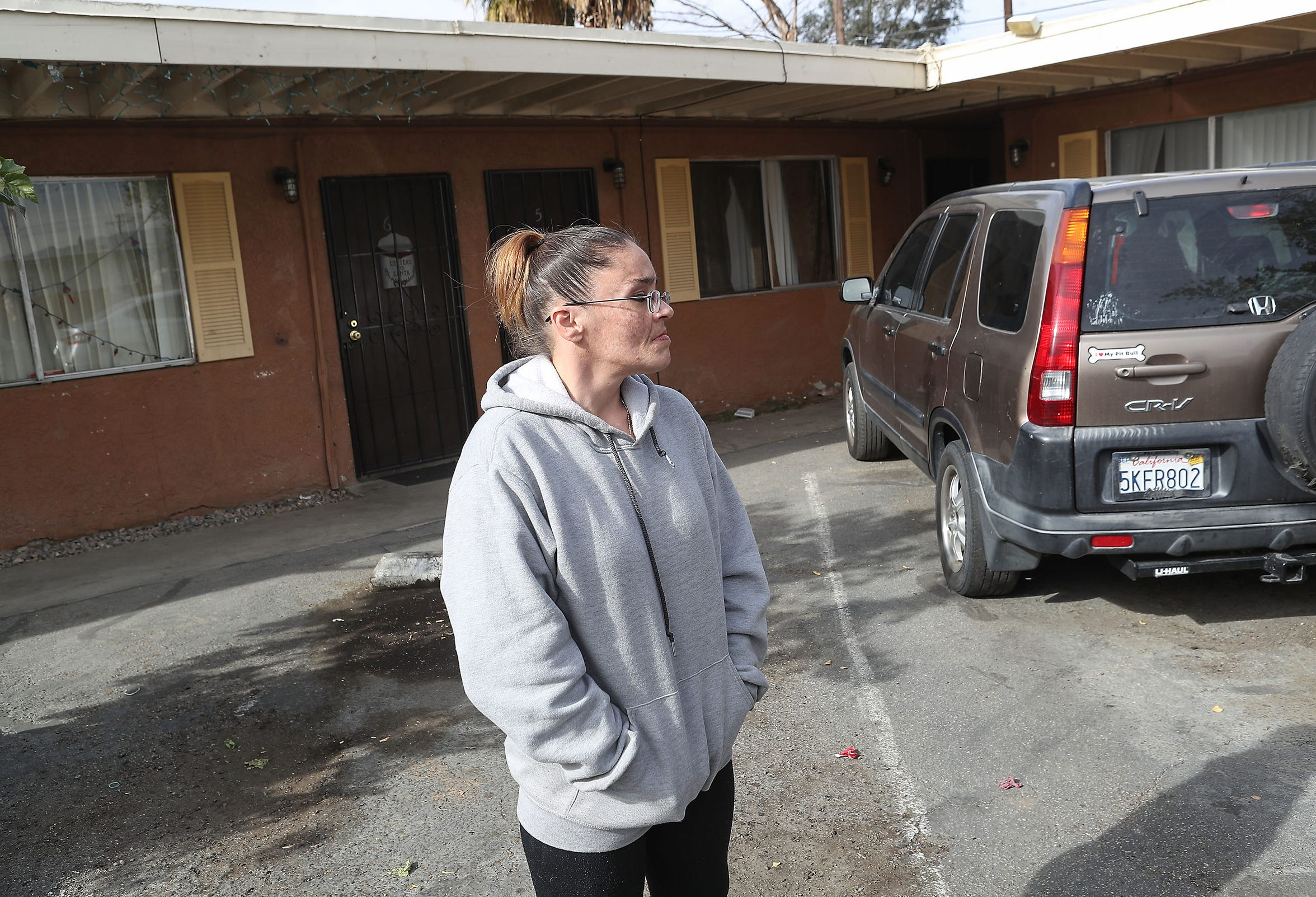 Erica Murphy talks about getting back on her feet after being homeless for years outside of her Indio apartment, December 18, 2019.