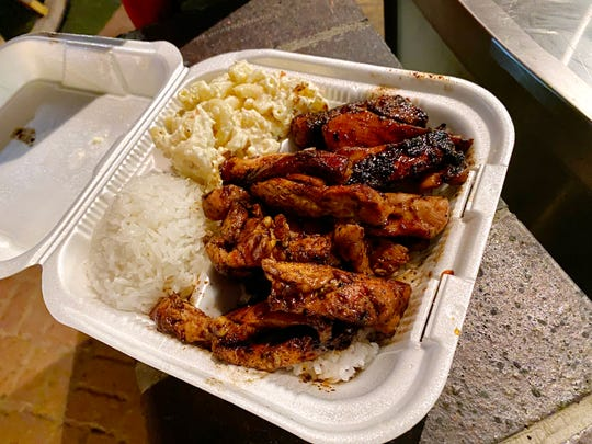 Teriyaki chicken plate lunch with steamed rice and mac salad at Loco Style Grindz in Phoenix.