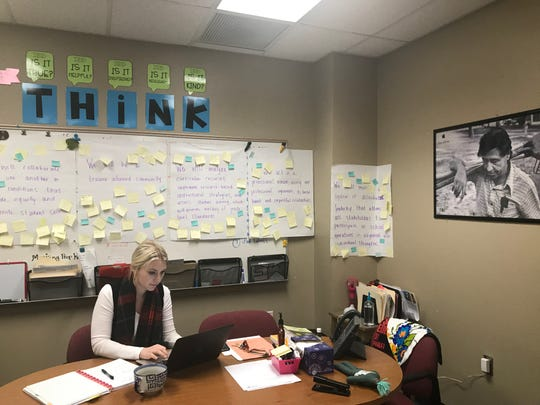 Cesar Chavez Leadership Academy Principal Brigette Smith's day never slows down, rushing from spelling bees to root for her kids, to meetings and to sit in on classrooms to support her teachers and students.