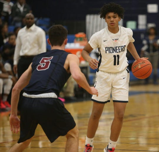 Poughkeepsie's Javel Cherry squares up to Byram Hills' Sam Goldman during Wednesday's game on December 18, 2019.