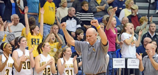 Red Lion head coach Don Dimoff reacts after the Lady Lions defeated Delone Catholic 51-48,Tuesday, February 15, 2011. John A. Pavoncello photo