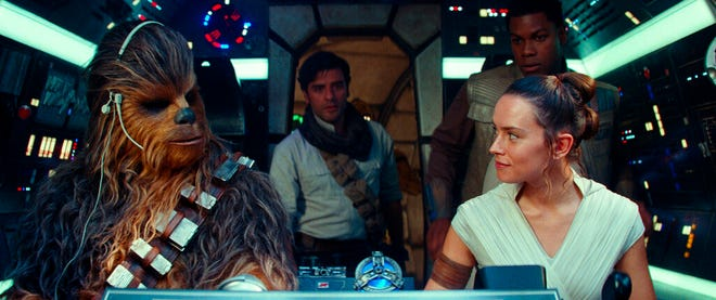 "From left,  Joonas Suotamo, Oscar Isaac, Daisy Ridley and John Boyega star in ""Star Wars: The Rise of Skywalker."" The movie is playing at Regal West Manchester, Queensgate Movies 13 and R/C Hanover Movies."