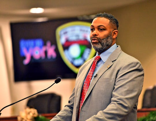 Soon to be York City Police Commissioner Osborne Robinson speaks to media at City Hall, Thursday, Dec. 19, 2019. Dawn J. Sagert photo