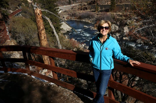 Janet Phillips, president of the Tahoe-Pyramid Trail, poses for a portrait while on the trail near Floristan on Dec. 19, 2019.