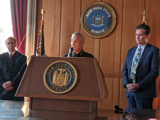 Fulton County Sheriff Richard Giardino joined Senate Republican leaders at a Thursday press conference in Albany seeking a halt to the upcoming criminal justice reforms set to take effect on Jan, 1.