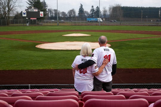 JoAnn and Jerry Wood pose for a portrait at the Volcanoes Stadium in Keizer, Ore. on Dec. 18, 2019. They have been Volcanoes season ticket holders for 23 years.