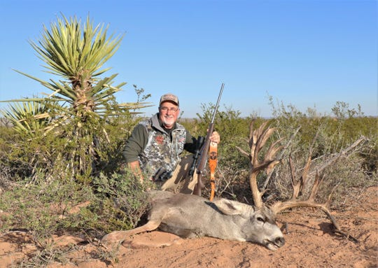 Spanish Dagger yuccas and creosote bushes dot the landscape in Culberson County,  Texas, where San Angelo's Greg Simons took this impressive mule deer buck on Nov. 4, 2019.