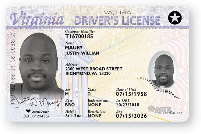 Example of a REAL ID compliant driver's license, issued beginning Oct. 1, 2018.