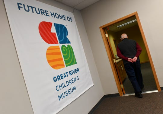 A sign hangs in a space at the Great River Children's Museum building Wednesday, Dec. 18, 2019, in St. Cloud.